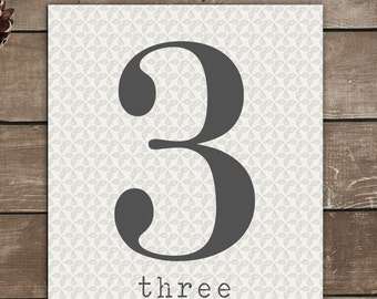 Numbers Print, 3, Three, Vintage Inspired, Typography Art