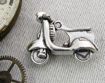 Set of (8) Silver Vespa, Motor Scooter Charms, 8 per package HOU022