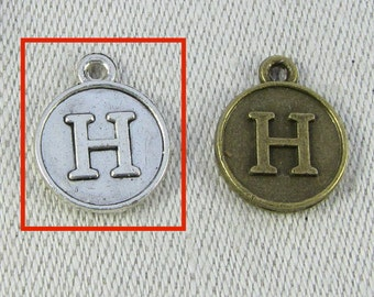 """Silver Letter """"H"""" Charm, 1 each per package. ALF012h"""