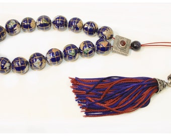 Globe Lapis Lazuli Worry Beads/Greek Komboloi with Silver detail and Red & Blue Tassel