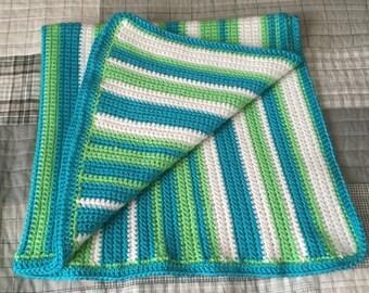 Crochet Baby Blanket, Crochet, Handmade, Baby Blanket, Random Stripes, Striped Blanket BKS002