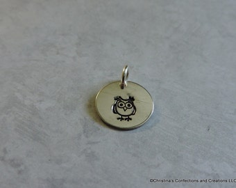 Hand Stamped Owl charm or build your own Necklace (#1916)