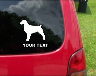 Set (2 Pieces) Brittany Dog   Sticker Decals with custom text 20 Colors To Choose From.  U.S.A Free Shipping