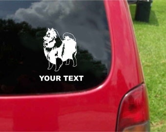 Set (2 Pieces) Keeshond Dog Sticker Decals with custom text 20 Colors To Choose From.  U.S.A Free Shipping