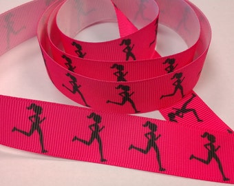 7/8 inch - Running Girl on Hot Pink - Runners Sports - Pink - Printed Grosgrain Ribbon for Hair Bow