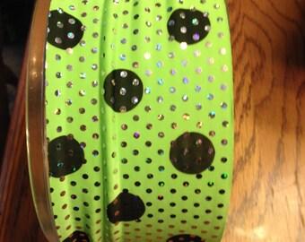 Spandex Headband - Lime Green w/Black polka dots and silver glitter