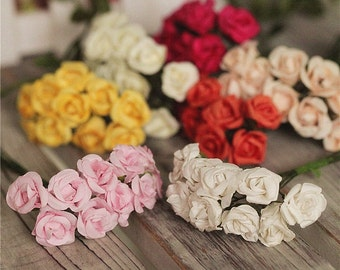 5 Bouquet Artificial flowers ,10 blooms,Mini rosed,Paper flowers For Bridal Bouquet Wedding Party,Decor Floral Supplies(153-12)