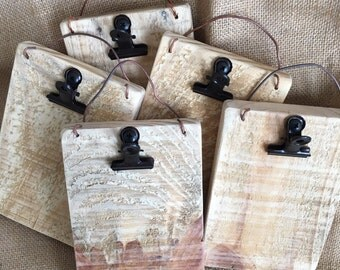 NEW!Check Presenters-Small Picture Holder with rustic clip-picture frame-Note holder-Small Artwork display-Recipe Holder-Small clipboard