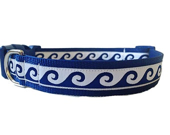 "Navy Wave Adjustable Dog Collar - 1"" Wide (Limited Supply)"