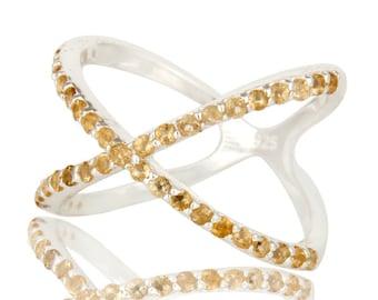 SALE- Citrine Ring, Citrine Gemstone Ring, Sterling Jewelry, Criss Cross X Ring, Engagement Ring, November Birthstone Ring, Anniversary Band