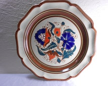 Ceramica Bariloche Plate from Argentina Hand Painted Blue Orange Floral 11 inch Dia.