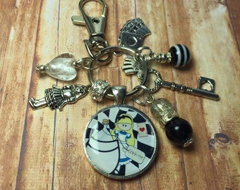 Alice in Wonderland keyring, handmade keyring