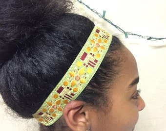Embroidered Woven Headband - Green