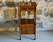 French vintage tole pot cupboard or bedside table with drawer and cupboard. Original faux bois finish, elegant proportions.