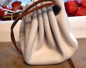 "NEW 12"" Handmade Genuine Deerskin Pouch, Possibles Bag, Tinder, Historical Re-enactment, Jewelry, Poke, Medicine, Marbles"