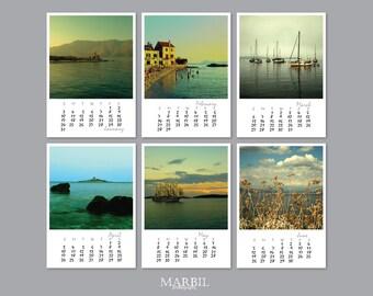 "2016 Calendar, Desk Calendar, Boat&Island Poetry Calendar, Fine Art Photography, 5x7"" Loose Leaf Pages, Photo Calendar"