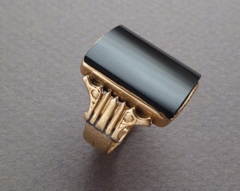 Men's 14 k gold onyx ring c 1880 size 9