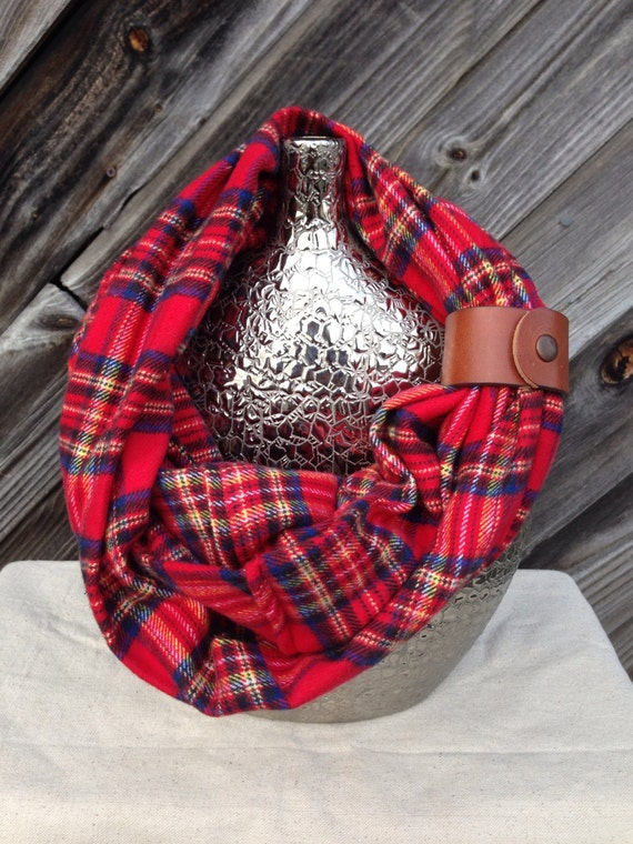 red, navy and yellow plaid flannel eternity scarf with a brown leather cuff - soft, trendy