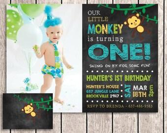 Monkey Birthday Invitation with Back and Photo - MMK01-1P
