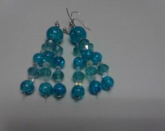 Triple Dangle Glass Earrings