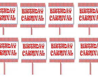 Carnival Birthday Party Cupcake Decoration Toppers Picks -24pack
