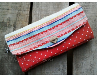 Clutch Wallet, Red Yellow blue. Detachable wrist strap included.