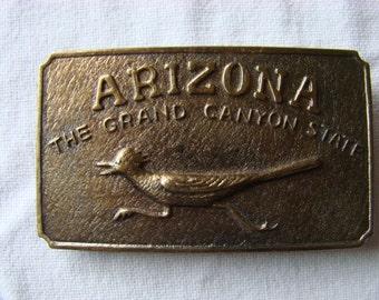 Arizona Belt Buckle Grand Canyon State Roadrunner Vintage