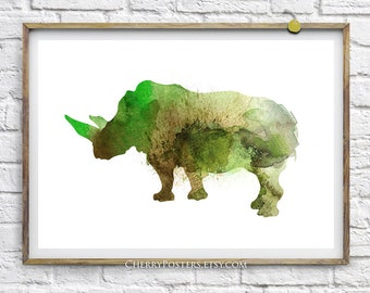 Rhino - Watercolor Print - Home decor wall art, rhino watercolor, watercolor art, illustration, watercolor animal, rhino print, art poster
