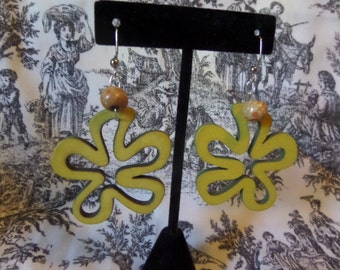 Hand made Silver French hook wood bead yellow flower, smaller orange wood bead earrings
