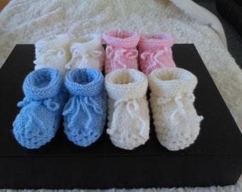 100% Merino Hand Knitted Booties Newborn to 3 months