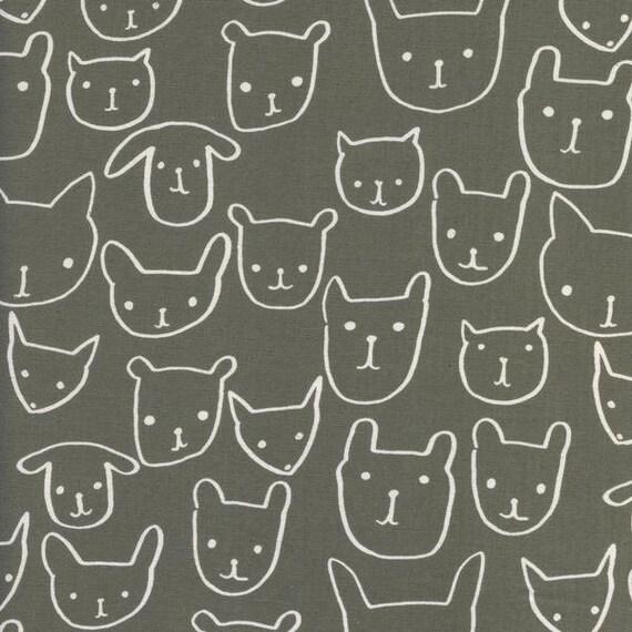 Crib Sheet >> Print Shop Hello in Grey >> MADE-to-ORDER cat dog toddler sheet set, grey mini crib, animal bassinet, grey gender neutral