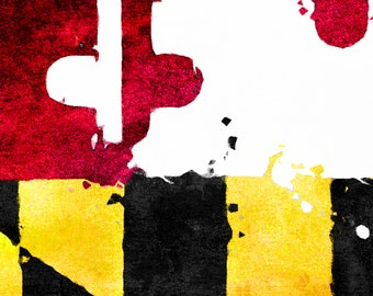 MD Flag Distressed Watercolor {8x10 Art Print}