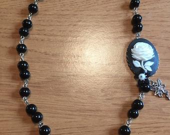Black beaded cameo charm necklace
