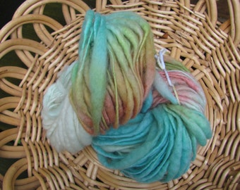 Hand Spun BFL Wool Yarn /  Bumpy Bulky Thick and Thin Single Ply / Hand Dyed with Eco Friendly Dyes / 63 yds 3.1 oz