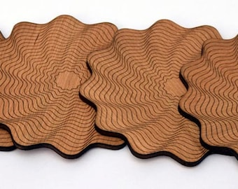 Cherry veneer coasters x 4. Laser-cut and engraved with a unique swirl pattern