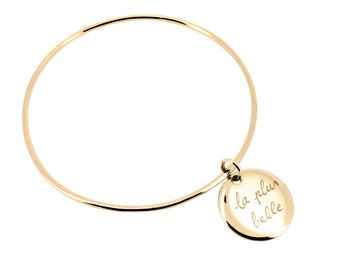 Bracelet Bangle with a medal custom for MOM, sister, friend...