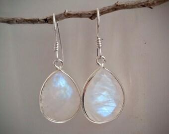 Rainbow Moonstone Earrings - Moonstone Jewelry - Sterling Silver Moonstone Drop Earrings - Silver Teardrop Earrings - Bridal Earrings