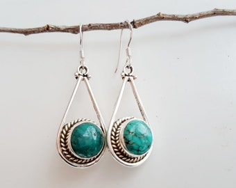 Turquoise Earrings - Silver Earrings - Turquoise Dangle Earrings - Gemstone Earrings - Teardrop Earrings- Turquoise Jewelry -Tibetan Jewelry