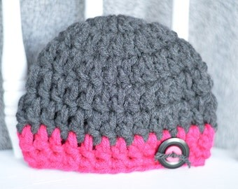 handmade crochet newborn chunky beanie with button