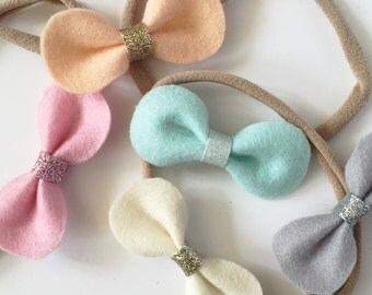 Baby Headband | Toddler Headband | 'Darcy' Rounded Hair Bow | Spring Pastels| Headband or Hair Clip