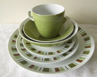 Mikasa Dinnerware in South Pacific Pattern very Mid Century Modern with Retro Blocks of Olive Greens Rust and Black