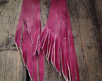 Dark Pink Leather Fringe Earrings