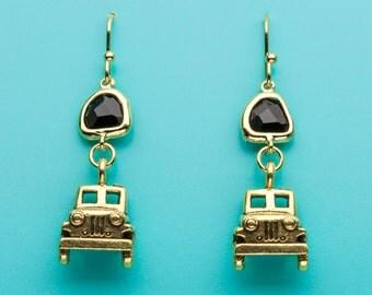 Jeep Earrings, Gold Jeep Earrings, Car Charm Earrings, Black Crystal Earrings, Car Earrings, Jeep Gift, Dangle Earrings, Gifts for Her, 454