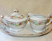 WentWorth China Montclair Pattern Creamer Sugar Bowl with Top and Oval Dish