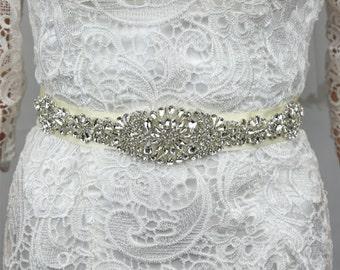 Crystal Wedding Belt, Rhinestone Wedding Belt, Wedding Belt, Wedding Dress Sash, Ivory, Size:13.6x2inches, High Quality.