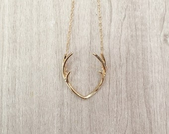 COOPER | Gold Antler Necklace | Gold Double Antler Necklace | Gold Filled Necklace | Gold Antler Pendant | Boho Necklace | Rustic Necklace
