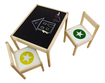 Play room idea: Sticker set with furniture and blackboard decals suitable for IKEA LÄTT (1T-DT02-04) - Furniture not included