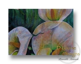 Art Print, Calla Lilies, Printable Art, Digital Art, Instant Download, Wall Decor