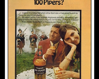 """Vintage Print Ad October 1968 : Seagram's 100 Pipers Scotch Whiskey Sexy Girl Wall Art Decor 8.5"""" x 11"""" Advertisement"""