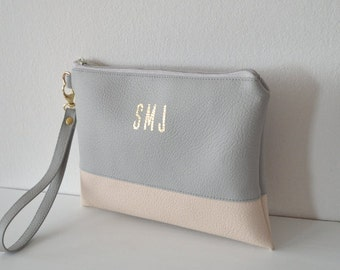 Monogrammed Wristlet Clutch, Bridesmaid Gift, Personalized Wristlet Purse, Wallet Wristlet